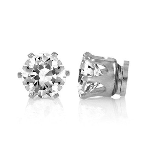 Mytoptrendz 1 pair Boys 6mm Round Crystal Stone Magnetic Stud Earring (No Piercing Required)