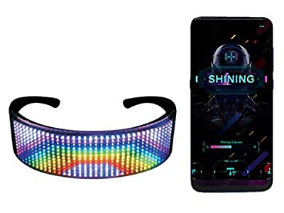 LED Bluetooth Full Color Luminous Glasses, Programmable LED Smart Glasses, APP Control Glasses with DIY/Text/Graffiti/Animation/Rhythm for Parties, Festival, Christmas, Halloween (Full Color)