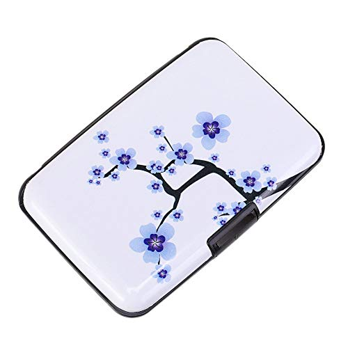 Elfish Mini RFID Aluminum Wallet Credit Cards Holder Business Card Case Metal ID Case for Men Women (Peach blossom)