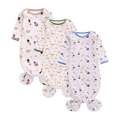 Pelele de 3 piezas por juego de ropa de dormir para bebé con nudos de algodón suave