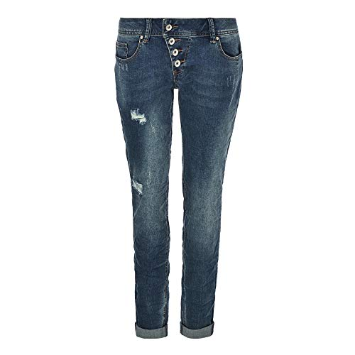 Buena Vista Malibu | Damen Jeans Hose Used Waschung | Stretch Denim Pants Knopfleiste Destroy Blue XL