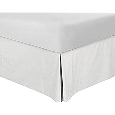 Utopia Bedding Bed Skirt Hotel Quality, Iron Easy, Quadruple Pleated, Wrinkle and Fade Resistant - by (Queen, White)