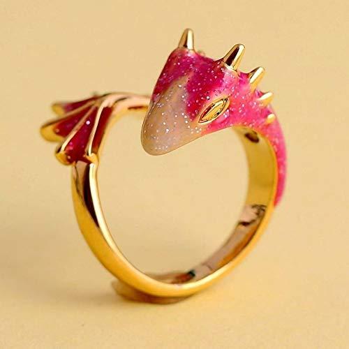 Gold Topas Drachenring Glück Fingere Haustier Drachen Ring Verstellbare Ringe Einzigartig Stilvollen Schmuck Für Frauen Männer (pink)