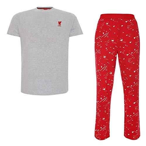 Liverpool FC Grau und Rot Lang Pyjama Set M�nner LFC Offiziell