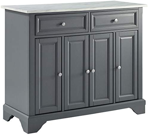 Crosley Furniture Avery Kitchen Island with Paper Marble Top, Gray