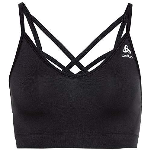 Odlo Damen Sports Bra Seamless Soft Sportsbra, Black-Grey Melange, M
