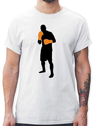 Kampfsport - Box Grundstellung - M - Weiß - Herren Tshirt Boxen - L190 - Tshirt Herren und Männer T-Shirts