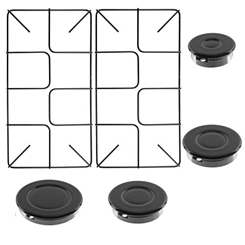 SPARES2GO Universal Flush Pan Support & Burner Kit for Oven Cooker Gas Hob (2 Grids + 4 Burners)