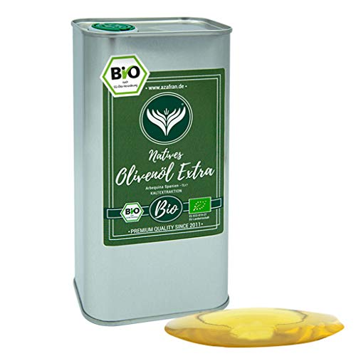 Azafran BIO Olivenöl extra Nativ - Arbequina Olive aus Spanien im Kanister (Dose) 1L