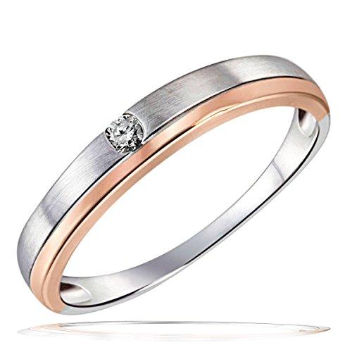 Goldmaid Damen-Ring Verlobungsring Bicolor 375 Weißgold 1 Brillant 0,05 ct. Gr. 58 So R6260WR58 Ehering Trauring Schmuck