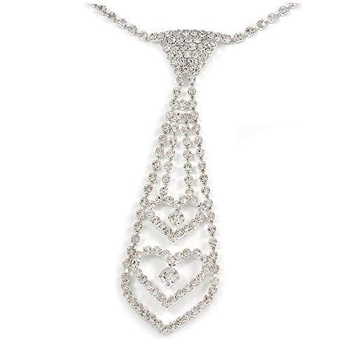 Unbekannt Avalaya Halskette mit Doppelherz aus österreichischem Kristall silberfarben – 28 cm Länge 17 cm Verlängerung 12 cm Krawatte