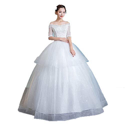 Chapel Wedding Dress Women Off Shoulder Short Sleeve Beaded Lace Floral Ball Gown Bridal Wedding Dress Tired Tulle Bride Dress Bridal Wedding Dress (Color : White, Size : L)