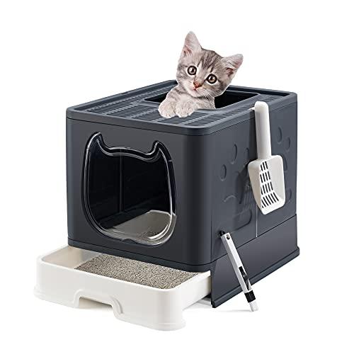Suhaco Faltbare Katzentoilette, Katzentoilette von Oben mit Deckel, abgedeckte Katzentoilette mit Katzentoilettenschaufel und 2-1 Reinigungsbürste (Schwarz)