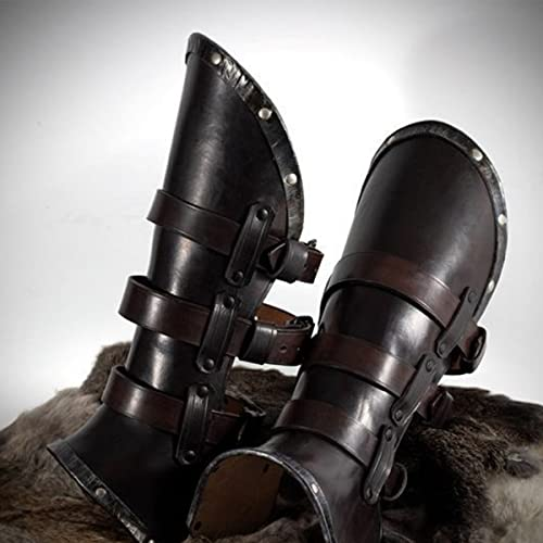 LXQLLJJD Botas De Cuero Unisex Medieval Cubiertas De Zapatos con Remaches, Viking Knight PU Cuero Legador De Pierna Steampunk Ropa Accesorios para Jugar Y La Caza