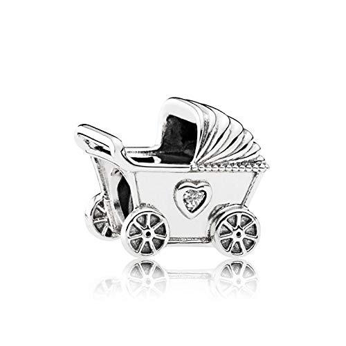 QWEILOY 925 Sterling Silber Anhänger Perle Baby Kinderwagen Charme Mode Frauen Pandora Armband Armreif DIY Schmuck Geburtstagsgeschenk