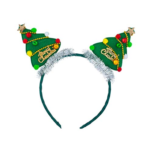 Beaupretty diadema de navidad diadema linda árbol de navidad tocado de campana aros de pelo accesorios para el cabello para mujeres niñas