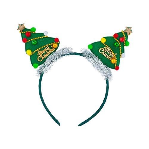 Beaupretty diadema de navidad diadema linda árbol de navidad tocado de campana aros de pelo accesorios para el...