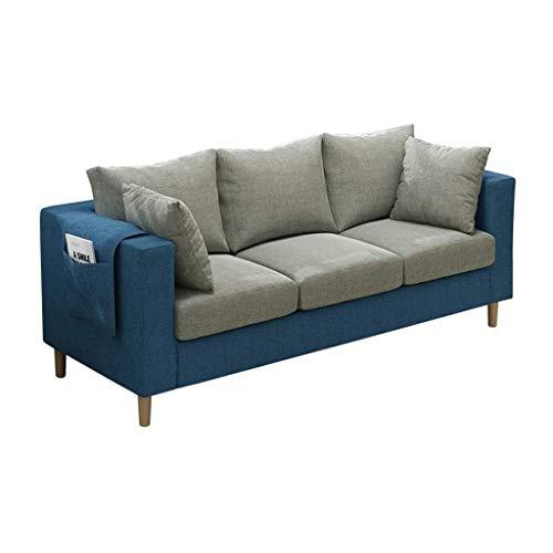HEMFV Möbel Klassische Leinengewebe-Sofa mit Armlehne Taschen und hohe elastischen Massivholz Beinen