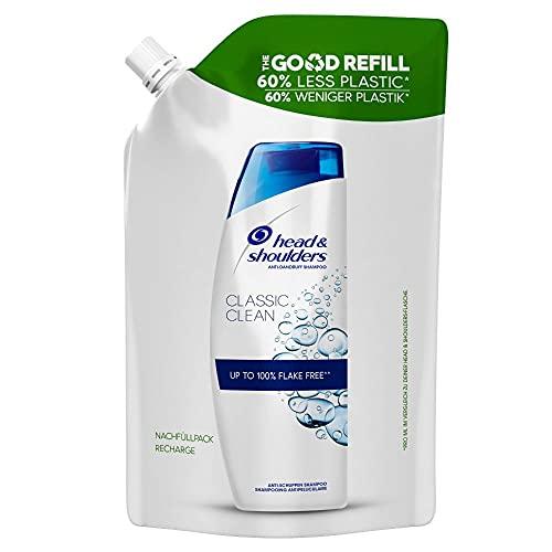 Head & Shoulders Classic Clean Anti-Schuppen Shampoo, Good Refill Nachfüllpack Mit 60 % Weniger Plastik, Shampoo gegen Schuppen, 72 H Schuppen-Schutz 480 ml