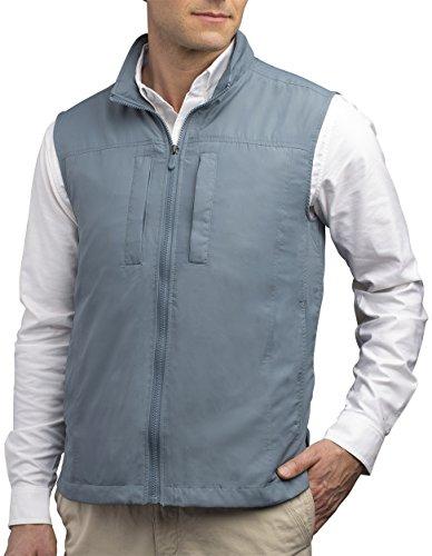 Model shot of man wearing a travel vest.