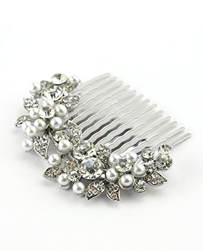 NYFASHION101 Women's Elegant Bridal Rhinestone Flower Pattern Hair Comb HC4270, Simulated Pearl, Silver-Tone