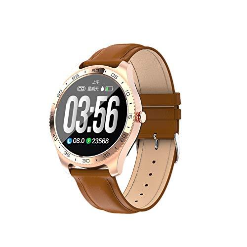 YNLRY Frecuencia cardíaca presión arterial IP67 resistente al agua para hombres y mujeres, reloj inteligente con control remoto (color: marrón dorado)