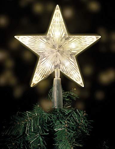 Weihnachtsbaumspitze mit 10 LED mit Stromstecker - 18 x 22 cm - beleuchtete Christbaumspitze in warmweiß - Weihnachtsbaum Stern Spitze Baumspitze