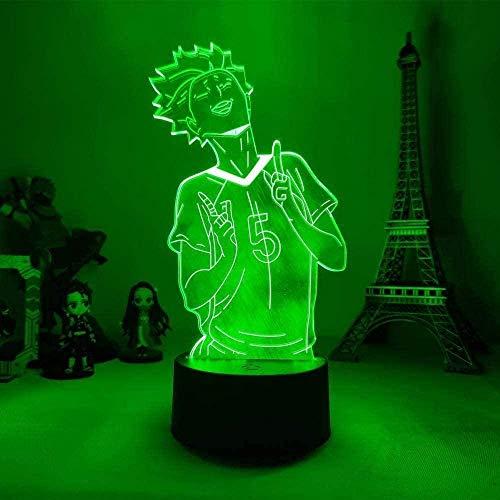tian tian baby Lampada 3D Anime Haikyuu Tendo Satori LED Night Light Telecomando 16 Colori Lampada da Tavolo Cameretta per Bambini Outfit