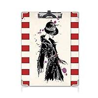 個性的 キングジム:クリップボード カラー A4判タテ型 ファッション アイデア多機能メニュー 水彩絵筆スタイルカジュアルな都市デザイン装飾ブラックレッドとクールなコートでモダンな女性