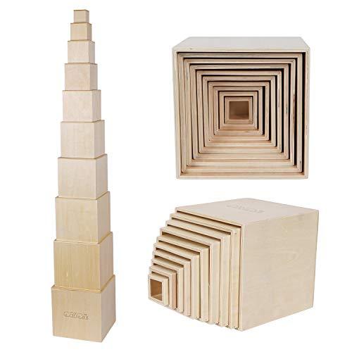 TOWO Cajas apilables de madera pura, bloques de vasos para anidar y clasificar para niños pequeños, cubos apilables, juguetes educativos de aprendizaje para niños de 2 años, materiales Montessori