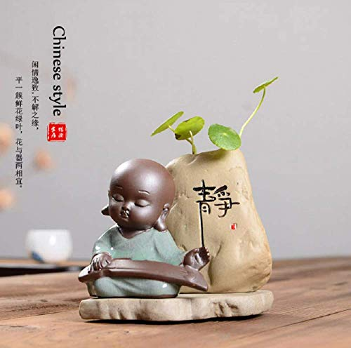 Stephen Taylor Kungfu Monk Glass Ceramics Vase Tabletop Vase Small Buddha Flower Pot Planters Bonsai