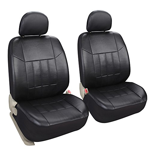 Leader Accessories Auto 2 Leather Black Car Seat Covers Universal Fit Cars SUV Trucks Front Seats Low Back with Airbag