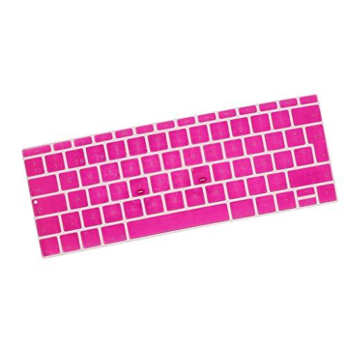 KESOTO Soft Touch Thin Wasserdicht Waschbar Silikon Tastaturschutz Spanisch Phonetic Keyboard Film Europäisch Passend für 12 Zoll - stieg rot