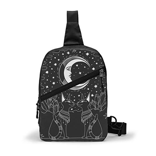Newbhomehome Sling Bag Anti Theft Travel Crossbody Chest Shoulder Daypack with Zipper Lightweight Backpack Rucksack Fit Men Gym Workout Tarot Moon Star Dog Divination