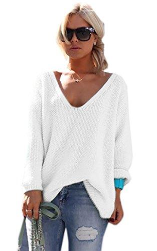 Mikos* Damen Pullover Hoodie Sweatshirt Warm Lange Ärmel Casual Sleeve Pullover Jacke Slim Mantel Tops (617) (Weiß)
