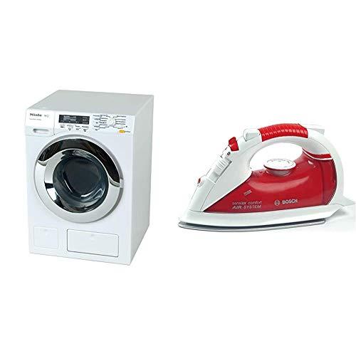 Theo Klein 6941 Miele Waschmaschine I Vier Waschprogramme und Originalgeräusche I 18,5 cm x 26 cm x 18 cm I Spielzeug für Kinder ab 3 Jahren, Weiss & 6254 - Bosch Bügeleisen, Spielzeug