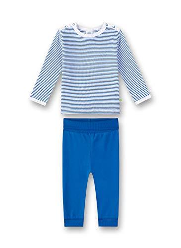 Sanetta Baby-Jungen Pyjama Zweiteiliger Schlafanzug, Blau (River Blue 50047), 80 (Herstellergröße: 080)