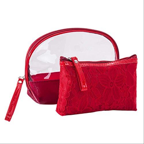 2 Unids Conjuntos Mujeres Bolsa De Maquillaje Kits De Aseo De Lavado De Encaje Bolso Cosmético Mujer Organizador De Viaje Portátil Artículos De Tocador Ordenar Bolsa C