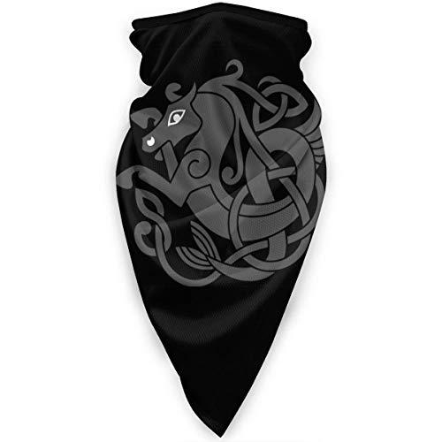 Antiguo símbolo celta de la boca de caballo cubierta fresca para festivales de año nuevo, amantes de patinaje pasamontañas para hombres