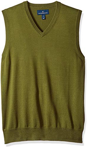 BUTTONED DOWN Men's Supima Cotton Lightweight Sweater Vest, olive, Small