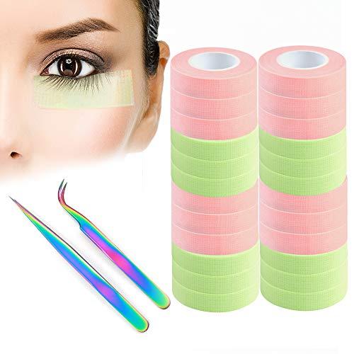 Cinta adhesiva para pestañas de 24 rollos de cinta adhesiva para extensión de pestañas, tejido microporo transpirable para extensión de pestañas (0.5 pulgadas x 10 yardas)