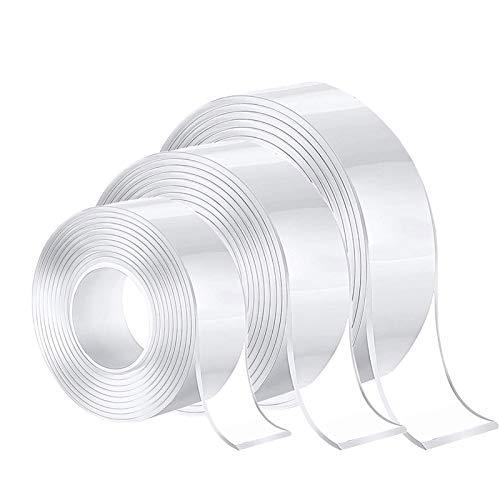 3 Stück Nano Tape, Nano Klebeband Doppelseitig Stark, Magisches Mehrzweck-klebeband, Spurloses Waschbares Doppelseitiges Klebeband Transparent(groß 3 cm, mittel 2 cm, klein 1 cm)