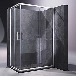 SONNI Mampara Ducha 120x70cm,Angular Puertas Corredera,Cabina de Ducha Retangular con Vidrio Templado de Seguridad 5mm