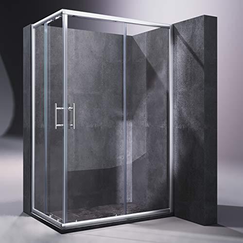 SONNI Duschkabine/Duschabtrennung 120x80cm Eckeinstieg Doppel Schiebetür Echtglas