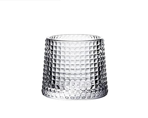 yijun Copa de vino giratoria para vino de girar, no se cae, whisky, chivas, copa de roca, para restaurante y postres (capacidad: 150 ml, color: cuadrados de diamante)