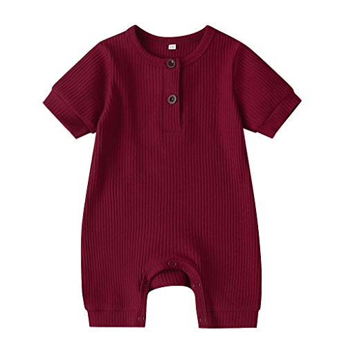 MRULIC Kinder Baby Kurzarm Jumpsuit Einfarbig Strampler Sommer MäDchen Jungen Bodysuit Kleidung Geburtstag Geschenk Taufkleid(rot,70-80)