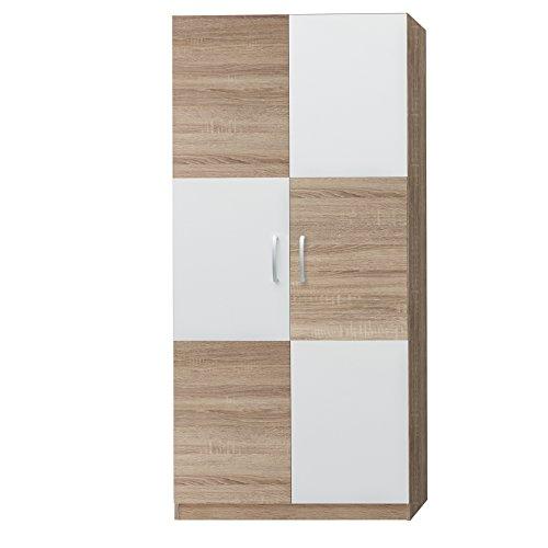 trendteam Kleiderschrank, Holzdekor, Weiß, 90 x 193 x 53 cm