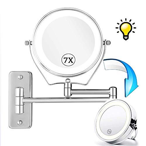 ZZSQ 8 Pouces Double Face LED Miroirs de Maquillage, 7X Miroir Grossissant Mural, 360°Pivotant, Surface chromée, Extensible, Alimenté par 4 Piles AAA(Non Inclus)