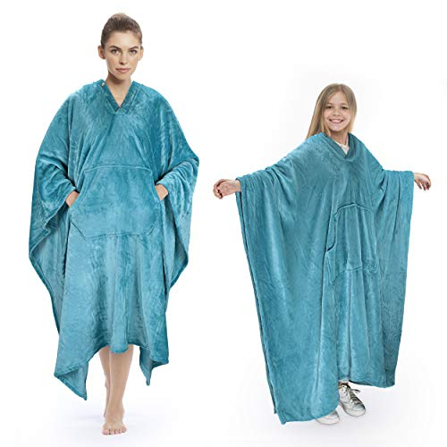 Poncho Blanket Comfy Plush Fleece Wearable Blanket for Adult Women Men Kids Throw Wrap Cover Indoors...