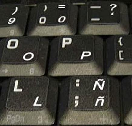 Amazon.com: SPANISH LATIN AMERICAN KEYBOARD STICKERS TRANSPARENT BACKGROUND WHITE LETTERING FOR LAPTOPS PC ANY COMPUTER DESKTOP: Computers & Accessories